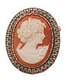 Made In Italy Rose Gold Plate Cameo And Black Cubic Zirconia  Pin