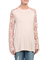 Made In Italy Lace Sleeve Jersey Top
