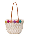Straw Tote With Pom Pom Trim