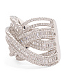 Sterling Silver Cubic Zirconia Baguette Highway Statement Ring