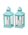 Set Of 2 13in Square Metal LED Lanterns