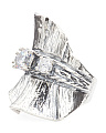 Made In Israel Sterling Silver Cubic Zirconia Ruffle Ring