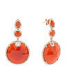 14k Rose Gold Red Agate And Diamond Earrings