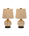 Set Of 2 Cut Ceramic Lamps
