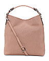 Made In Italy Leather Perforated Hobo