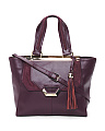Front Buckle Leather Tote