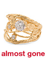 Made In Israel Gold Plated Silver Cubic Zirconia Branch Ring