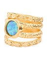 Made In Israel Gold Plated Silver Opal Multi Band Ring
