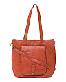 Leather Tote With Front Pocket