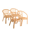 Set Of 4 Natural Bistro Chairs