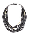 Made In Italy Leather Long Mini Bella Beaded Necklace