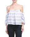 Juniors Strapless Stripe Top
