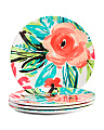 4pk Outdoor Bright Floral App Plates