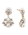 Crystal Cluster Mini Statement Earrings In Antique Gold Tone
