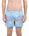 Sunglass Stripe Print Swim Shorts