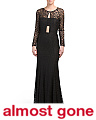 Abstract Lace Sheer Paneled Gown
