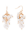Pearl And Crystal Cluster Earrings In Gold Tone