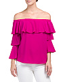 Made In Usa Off The Shoulder Ruffle Top