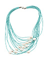 Fresh Water Pearl Multi Strand Leather Necklace