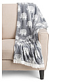 Woodblock Elephant Throw With Fringe