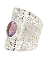 Made In India Sterling Silver Gemstone Filigree Ring