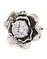 Made In Israel Sterling Silver Cubic Zirconia Flower Ring