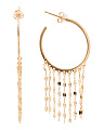 Made In Italy 14k Gold Mirror Chain Fringe Hoop Earrings