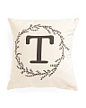 Made In USA 18x18 Initial Wreath Pillow