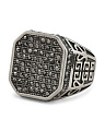 Men's Hematite Crystal Signet Ring In Stainless Steel