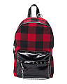 Plaid Backpack With Pin And Chain