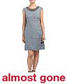 Made In Italy Rib Insert Linen Dress