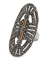 Made In Thailand Silver And 14k Gold Marcasite Knuckle Ring