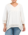 Plus Juniors Crochet Trim Blouse