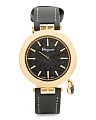 Women's Swiss Made Black Topaz Charm Intreccio Strap Watch