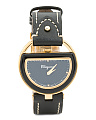 Women's Swiss Made Diamond Marker Leather Strap Watch
