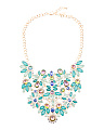 Floral Statement Necklace In Gold Tone