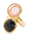 Made In Bali 14k Gold Plated Silver Onyx Cherry Quartz Bypass Ring