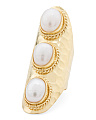 Made In Bali 14k Gold Plated Silver 3 Pearl Knuckle Ring