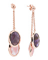 Made In Bali 14k Rose Gold Plate Silver Amethyst Quartz Earrings