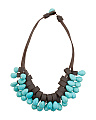 Turquoise Drops Faux Leather Necklace