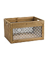 Large Metal Lattice Wood Bin