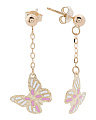 Made In Italy 14k Gold Enamel Butterfly Chain Earrings