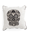 Made In India 14x14 Beaded Skull Pillow