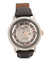 Men's Automatic Skeleton Leather Strap Watch