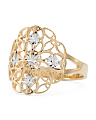 Made In Italy Gold And White Gold Diamond Cut Disk Ring