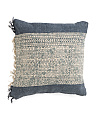 Made In India 18x18 Embroidered Fringe Pillow