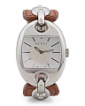 Women's Swiss Made Stainless Steel Brown Leather Strap Watch