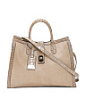 Made In Italy Leather Tote With Croc Trim