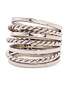 Made In Mexico Sterling Silver Twist Alternating Stack Ring