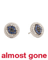 Sterling Silver Blue And White Cubic Zirconia Evil Eye Stud Earrings